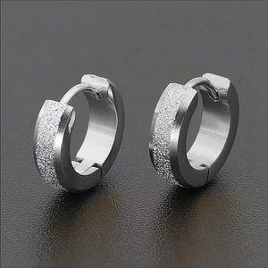 Silver Hoop Men's Stud Set of Earrings NWT